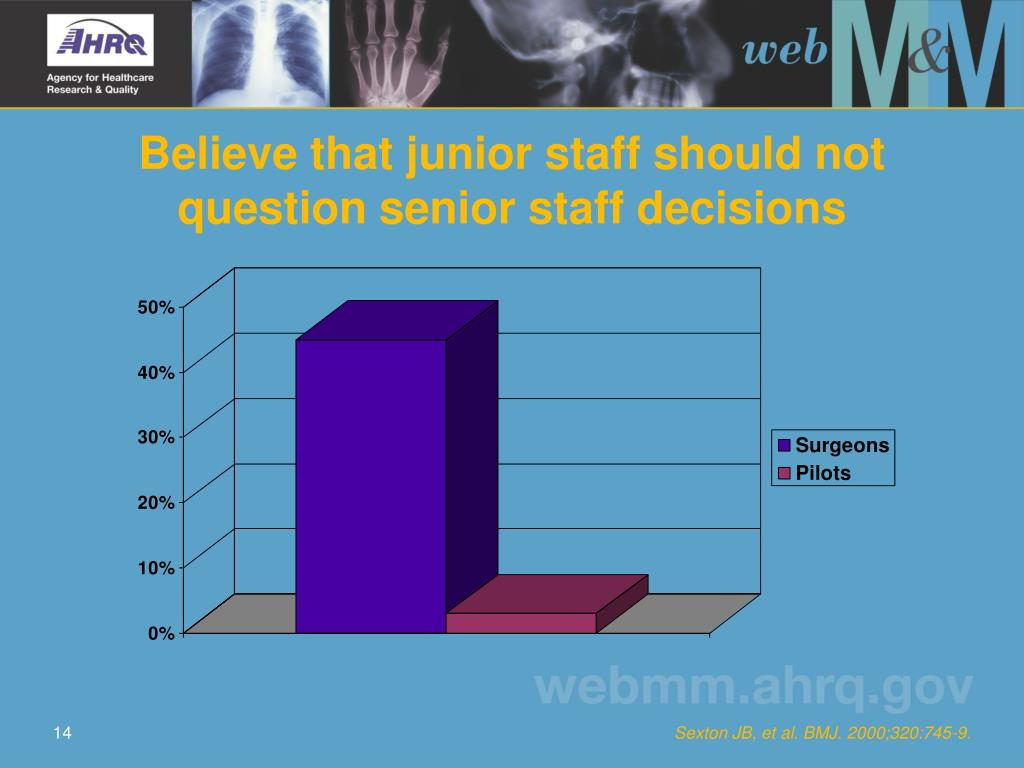 Believe that junior staff should not question senior staff decisions