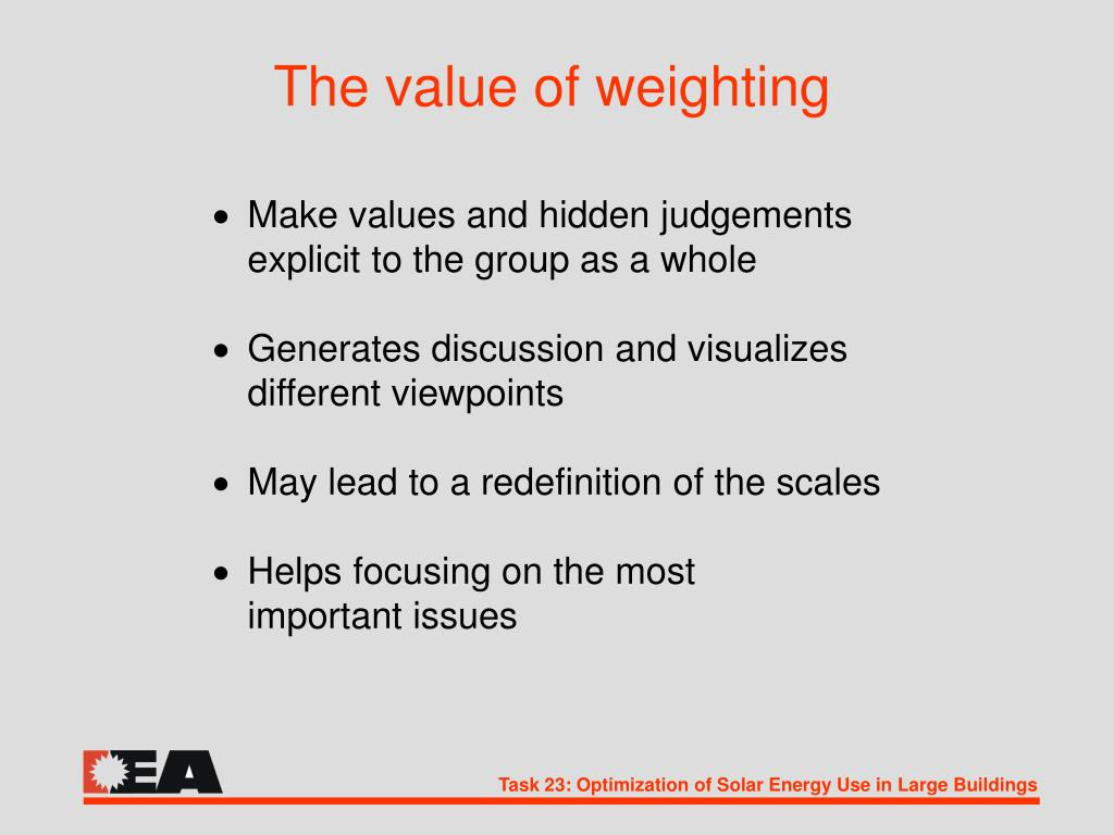 The value of weighting