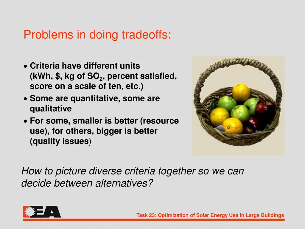 Problems in doing tradeoffs: