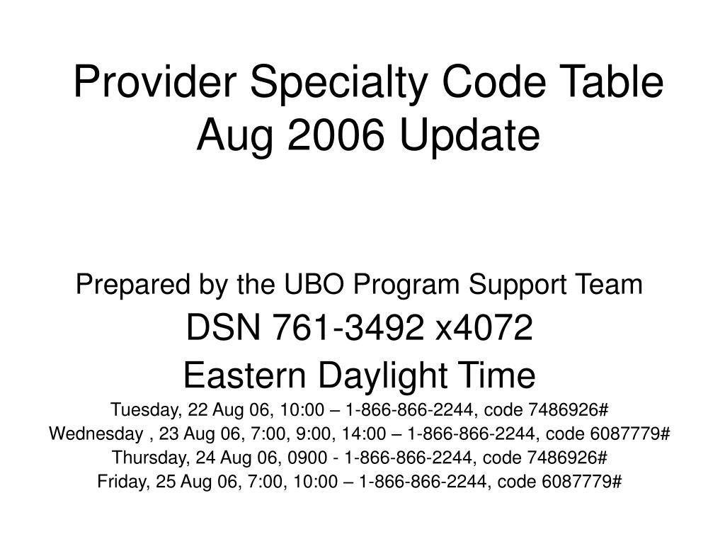 provider specialty code table aug 2006 update l.
