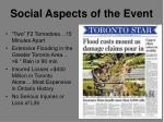 social aspects of the event