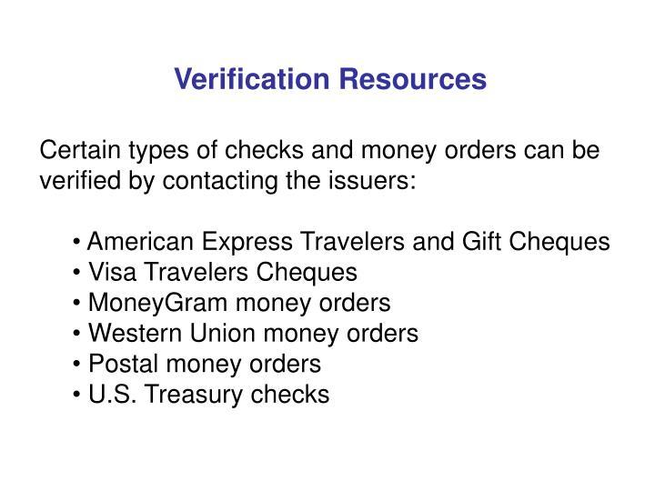 Verification Resources