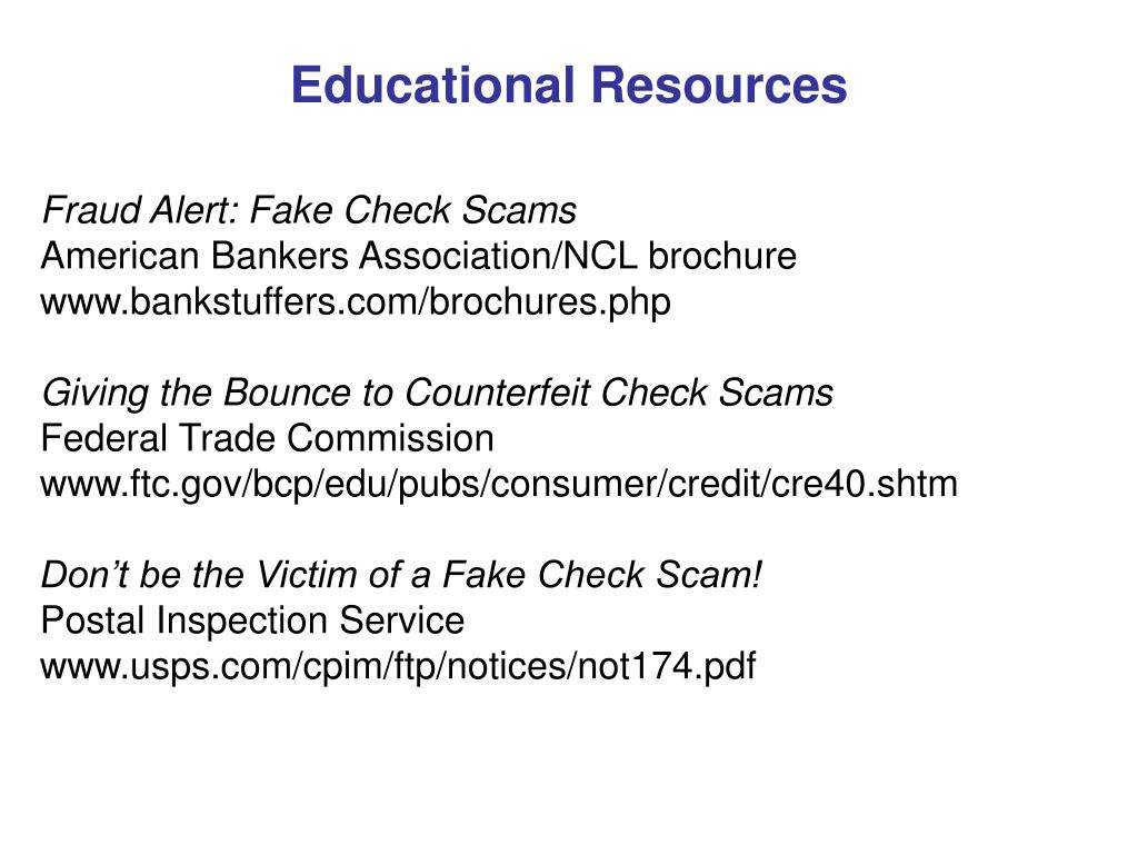 PPT - Fake Check Scams : PowerPoint Presentation - ID:199697