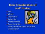 basic considerations of aac devices