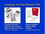 language activities resource kit