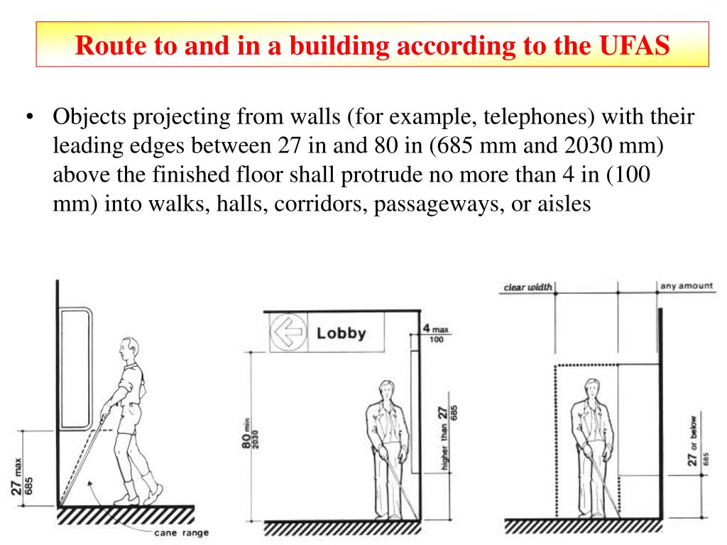 Route to and in a building according to the