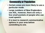 community or population