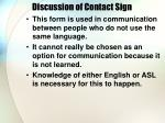 discussion of contact sign