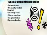 types of visual manual codes