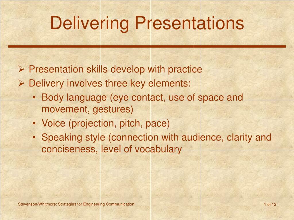 delivering presentations l.