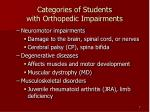 categories of students with orthopedic impairments