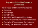 impact on school performance continued20