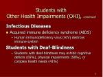students with other health impairments ohi continued