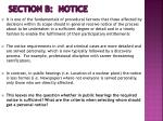 section b notice