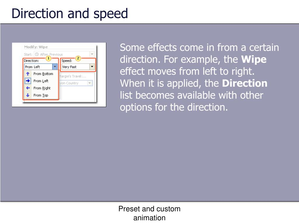 Direction and speed