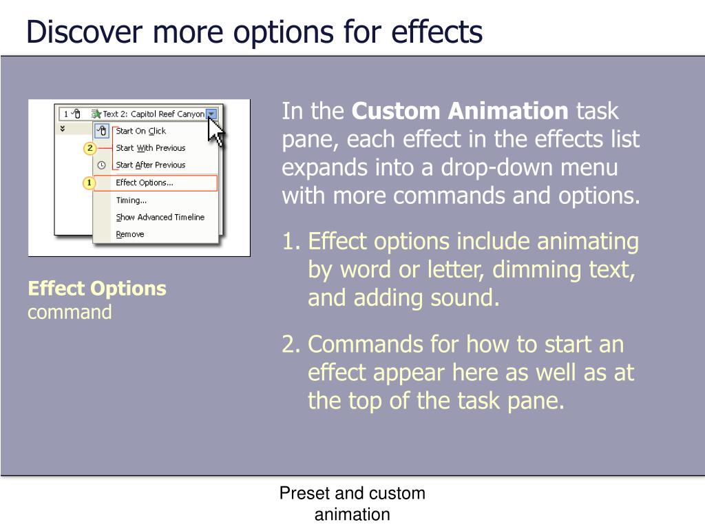 Discover more options for effects
