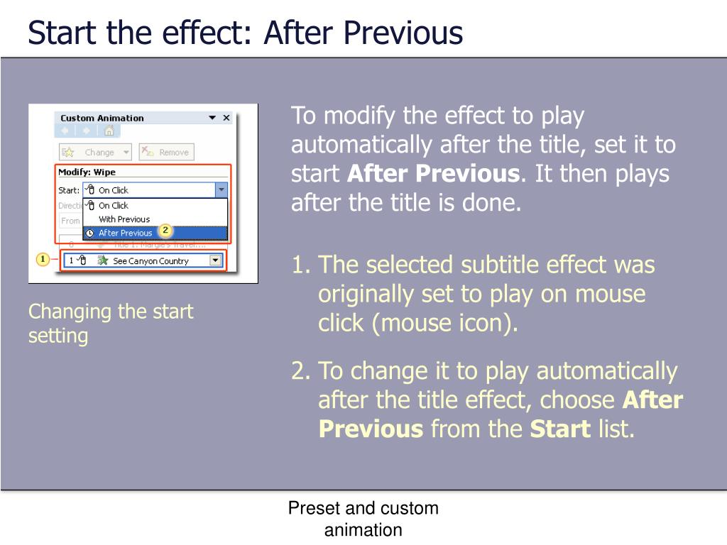 Start the effect: After Previous