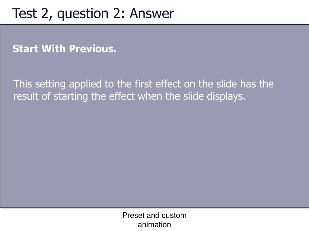 Test 2, question 2: Answer