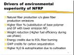 drivers of environmental superiority of nfrp
