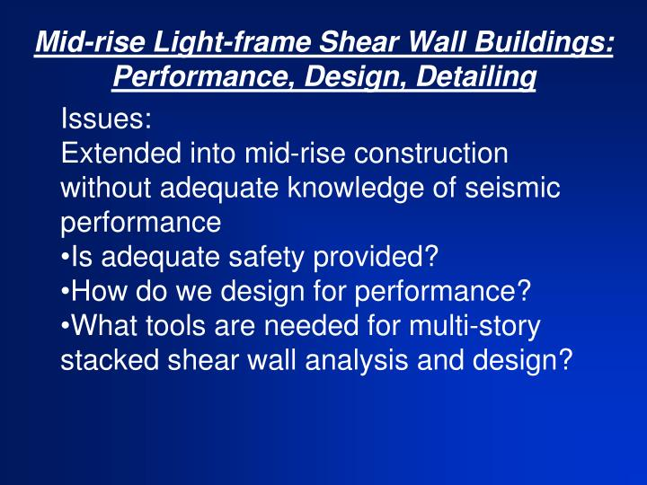 Mid rise light frame shear wall buildings performance design detailing3