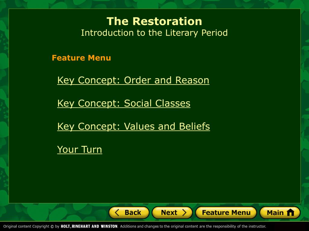the restoration introduction to the literary period l.