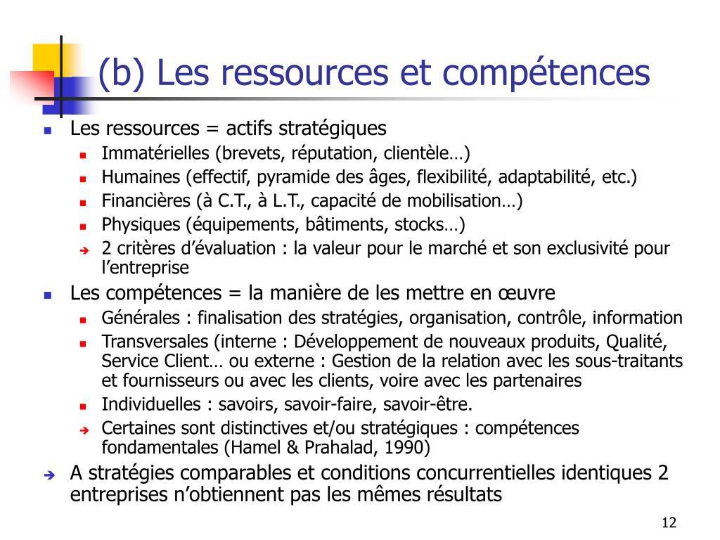 (b) Les ressources et compétences