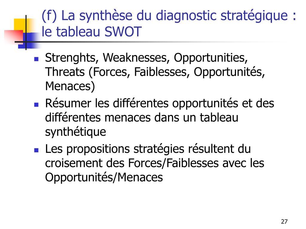 (f) La synthèse du diagnostic stratégique : le tableau SWOT