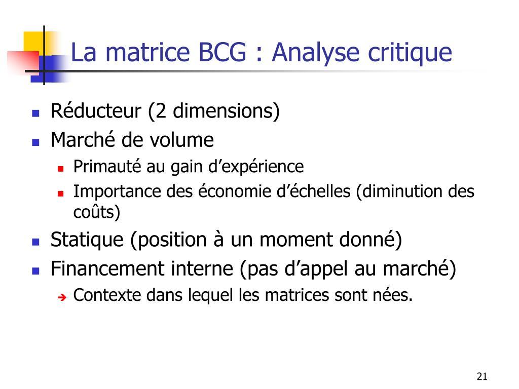 La matrice BCG : Analyse critique
