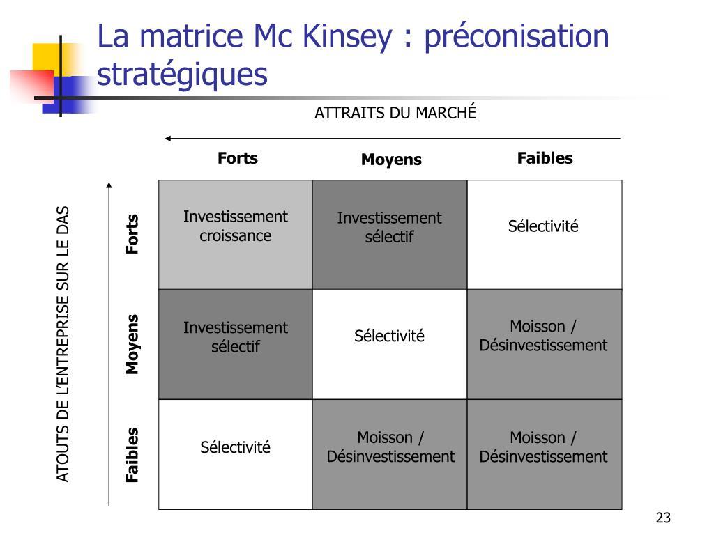 La matrice Mc Kinsey : préconisation stratégiques