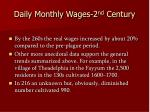daily monthly wages 2 nd century