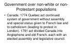 government over non white or non protestant populations