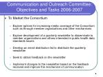 communication and outreach committee objectives and tasks 2006 2007