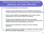 communication and outreach committee objectives and tasks 2006 20075