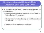 communication and outreach major objectives and tasks 2006 2007