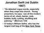 jonathan swift n dublin 1667