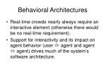behavioral architectures