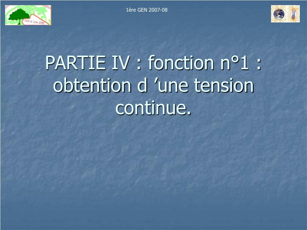 partie iv fonction n 1 obtention d une tension continue l.