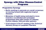 synergy with other disease control programs