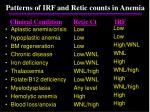 patterns of irf and retic counts in anemia