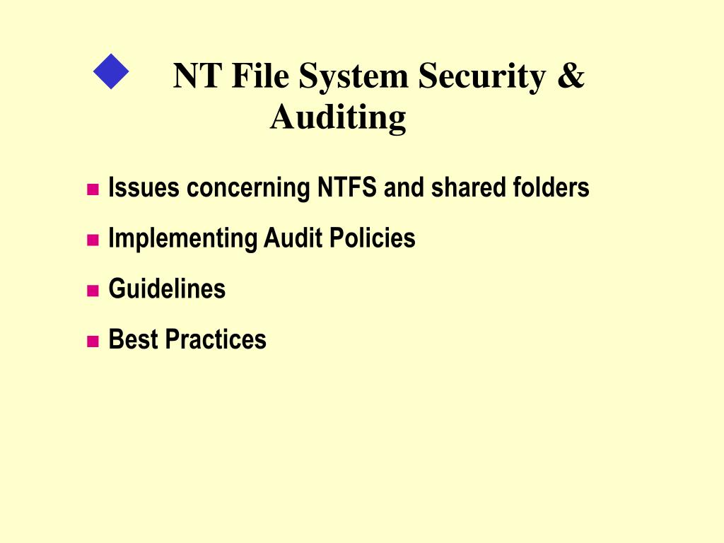 nt file system security auditing l.