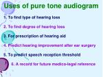uses of pure tone audiogram