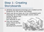 step 1 creating storyboards