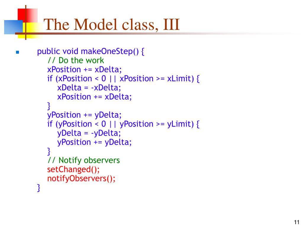 The Model class, III