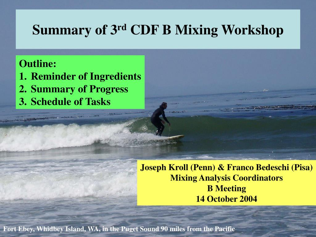 summary of 3 rd cdf b mixing workshop l.