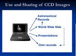 use and sharing of ccd images