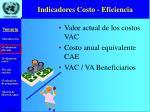 indicadores costo eficiencia