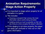 animation requirements stage action properly