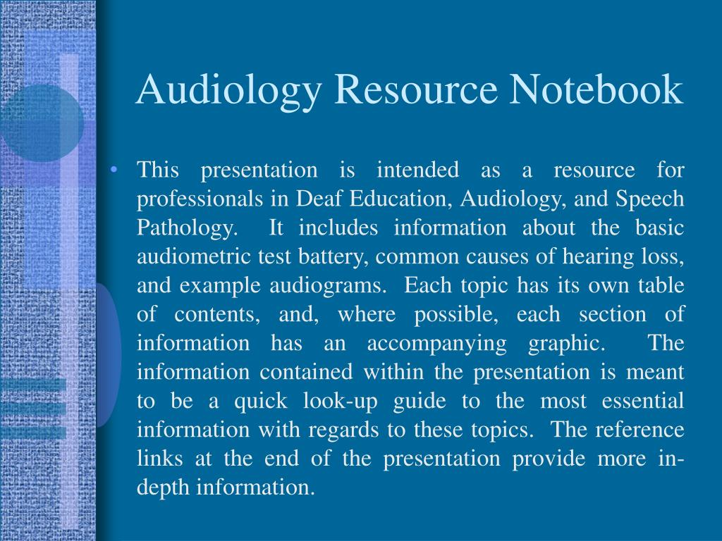 audiology resource notebook l.