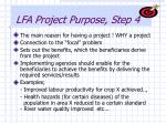 lfa project purpose step 4