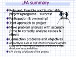 lfa summary